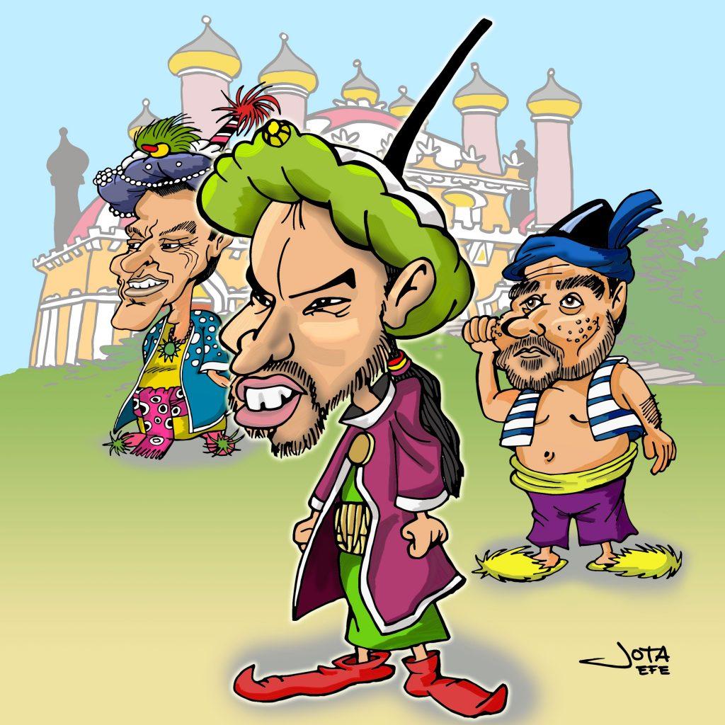 Caricatura Pablo Iglesias, Alberto Garzón y Pedro Sánchez